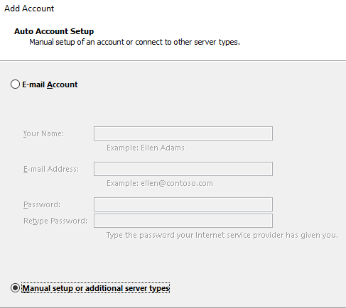 adaugare manuala mail outlook 2