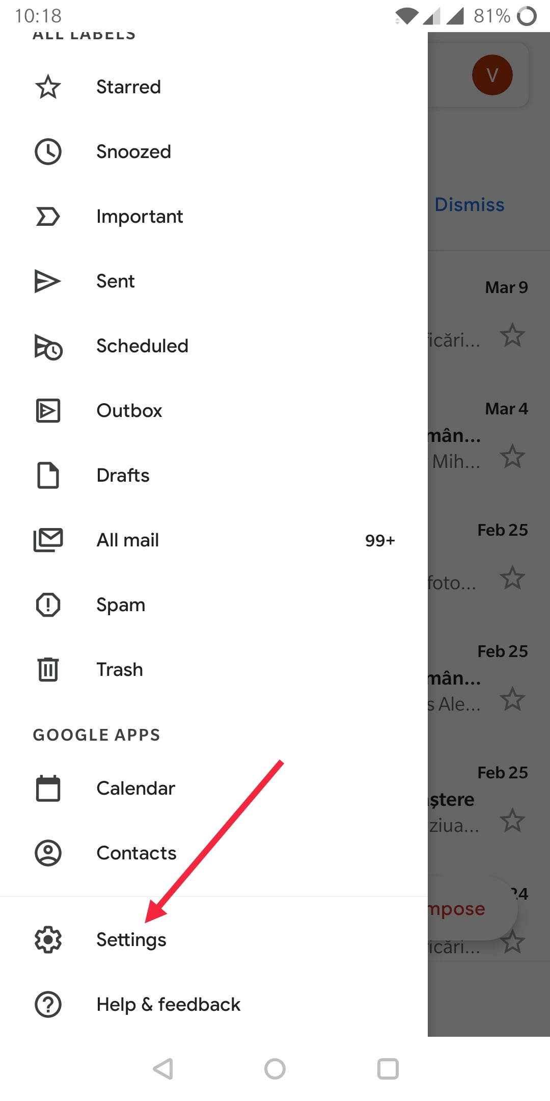 configurare email android 1