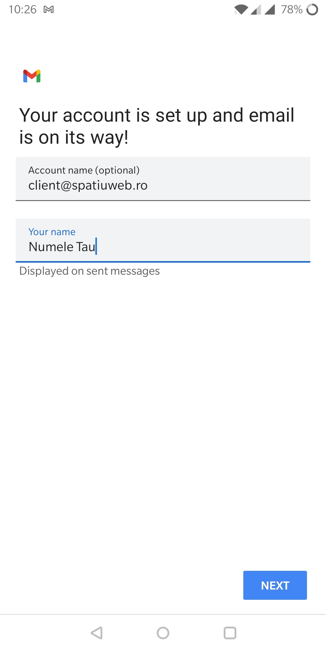 configurare email android 11