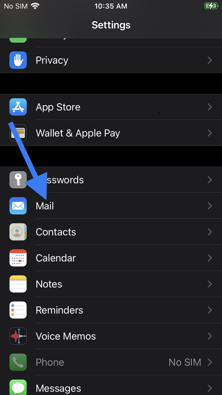 configurare email iphone 1